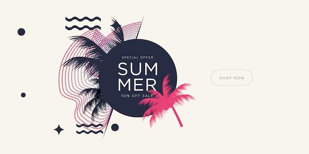 Férias de temporada de verão com folhas de coco e formas geométricas.