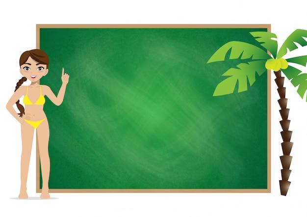 Férias de temporada de verão. personagem de desenho animado na praia, pessoas e atividades projeto vector