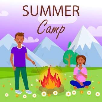 Férias de verão acampar ilustração plana com texto.