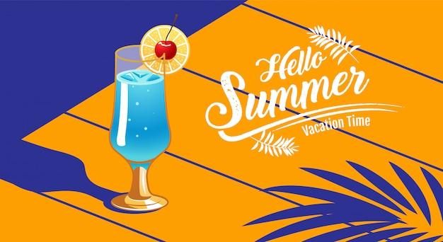 Férias de verão, banner, cocktail