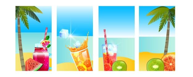 Férias de verão banner ilha tropical praia conjunto oceano bebidas geladas frutas de palma