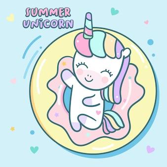 Férias de verão bonito unicorn