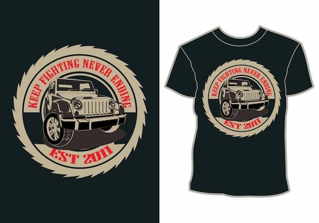 Férias de verão, carro na praia, design de t-shirt