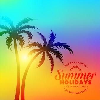 Férias de verão colorido lindo fundo com palmeiras