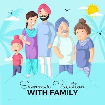 Férias de verão com modelo de design de banner familiar