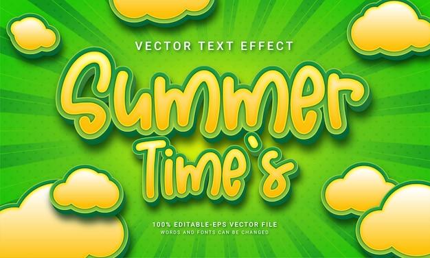 Férias de verão com tema de efeito de texto em 3d no horário de verão