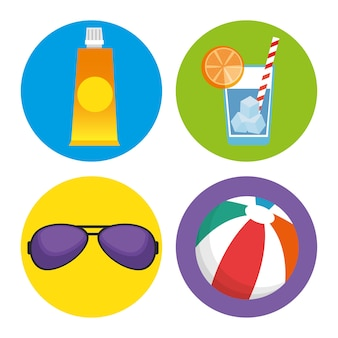 Férias de verão definir ícones vector design ilustração