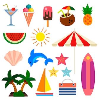 Férias de verão definir ilustração plana elemento
