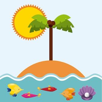 Férias de verão desfrutar de ícone