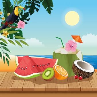 Férias de verão e desenhos de praia