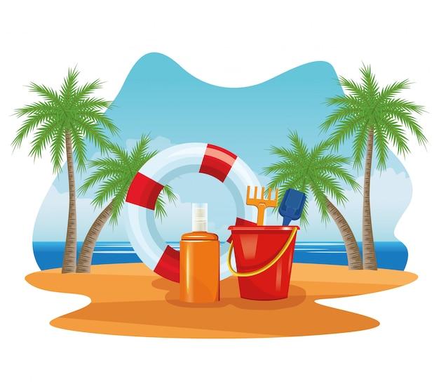 Férias de verão e desenhos de praia.