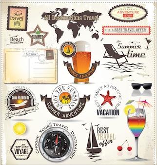 Férias de verão e etiquetas de viagem