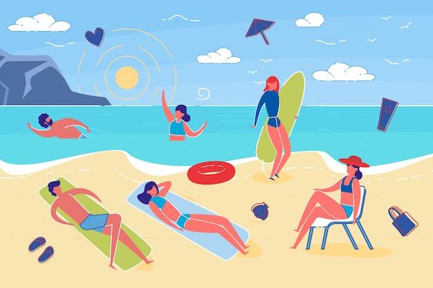 Férias de verão e ilustração plana de atividade de praia.
