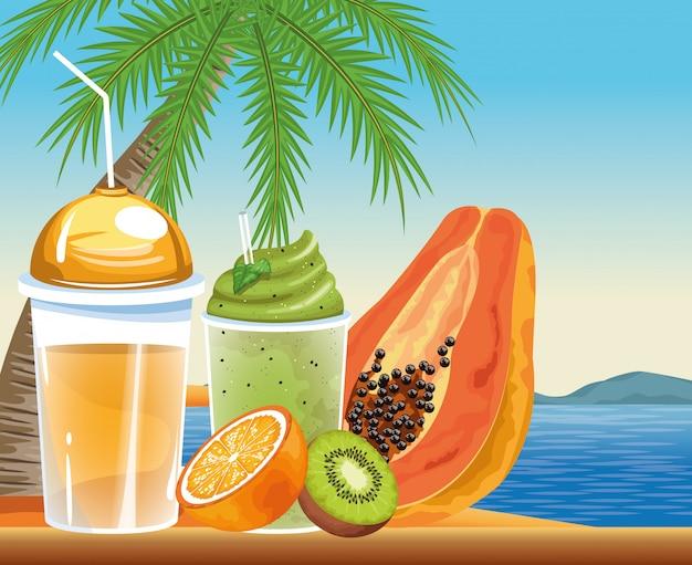 Férias de verão e praia em estilo cartoon