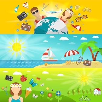 Férias de verão e viagens com floresta à beira-mar e conjunto de banners horizontais de campos