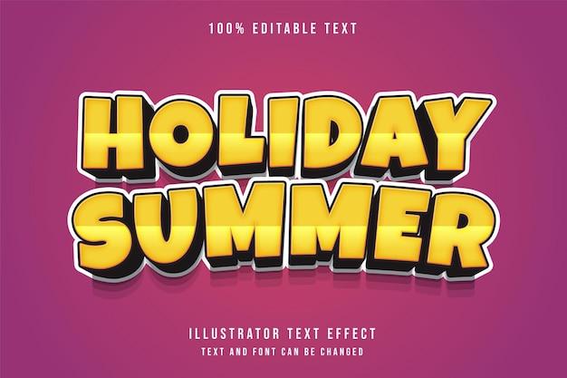 Férias de verão, efeito de texto editável em 3d, gradação amarela, estilo de texto em quadrinhos laranja