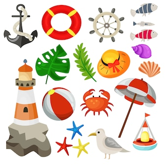 Férias de verão elementos coleção ilustração vetorial marinho