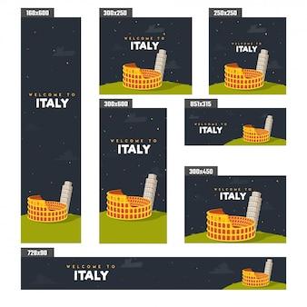Férias de verão em cartaz de itália ou banner design.