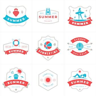 Férias de verão etiquetas e emblemas tipografia vector design