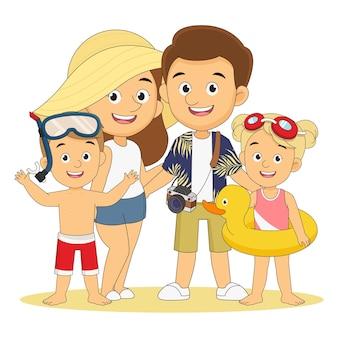 Férias de verão, família brincando na praia