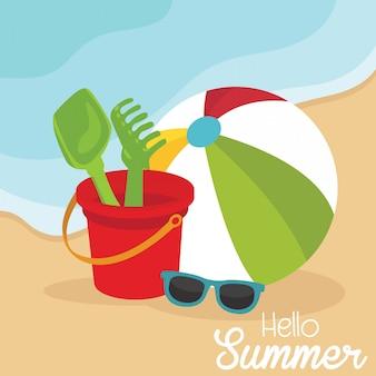 Férias de verão férias cartão de praia