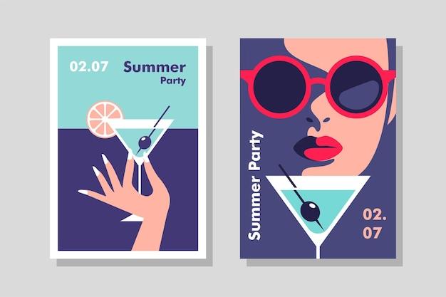 Férias de verão, férias e conceito de viagens design de folheto ou cartaz de vetor em estilo minimalista