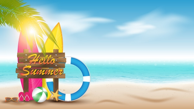 Férias de verão. fundo de paisagem de praia verão
