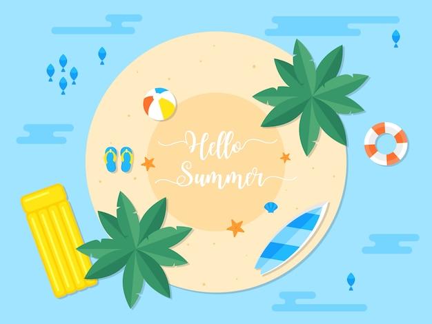 Férias de verão, ilustração de praia de verão