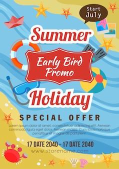 Férias de verão modelo panfleto promo ave plana estilo praia tema ilustração em vetor