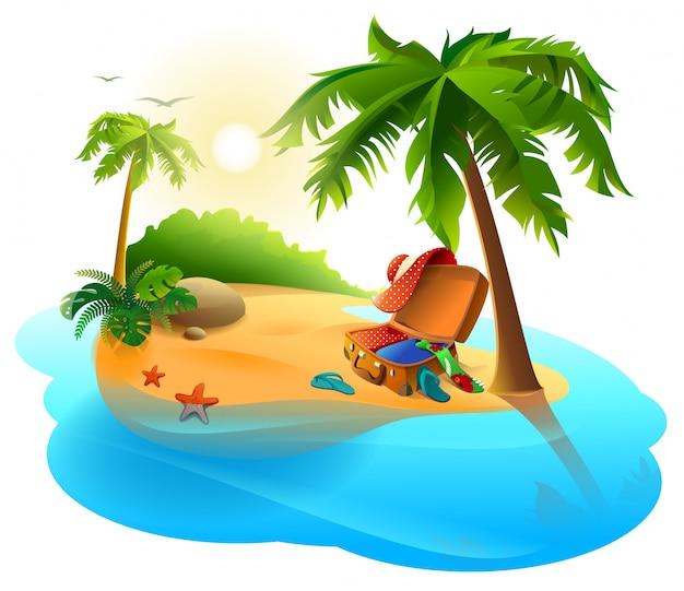 Férias de verão na ilha tropical. mala aberta na areia entre as palmas das mãos