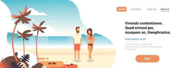 Férias de verão na página de destino da praia