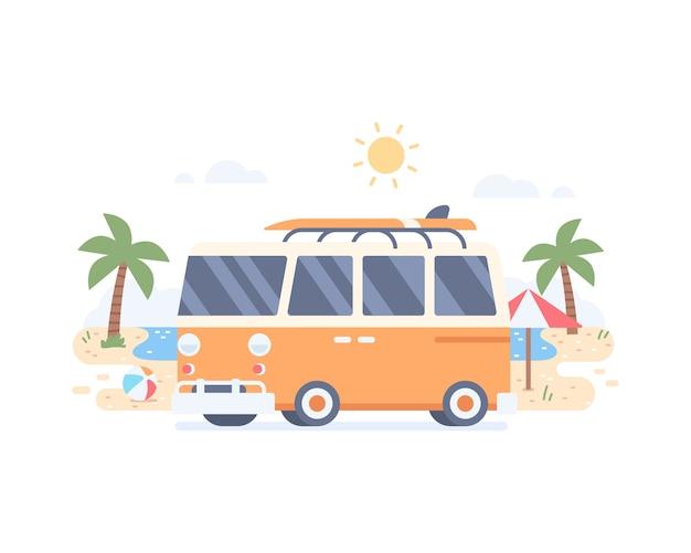 Férias de verão na praia com minivan