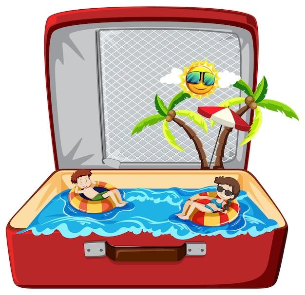 Férias de verão na praia na bagagem