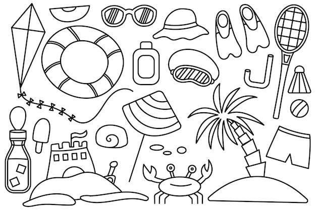 Férias de verão no mar. coisas de praia. coleção de coisas para as férias. ícone de linha do vetor. traço editável. estilo doodle.