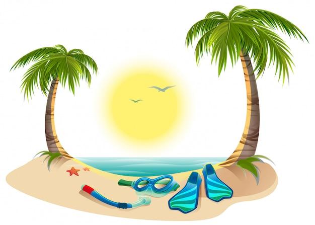 Férias de verão no mar. palmeiras, sol, nadadeiras e máscara para mergulho