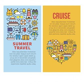 Férias de verão ou modelo de cartazes de vetor de viagens de cruzeiro no mar