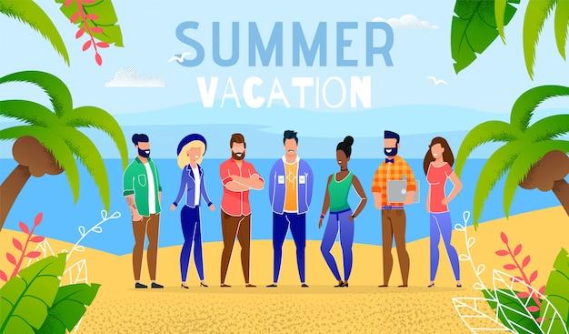 Férias de verão por pessoas do grupo do oceano