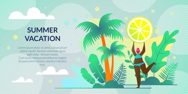 Férias de verão poster horizontal, lettering