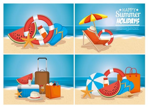Férias de verão praia cena vector ilustração design