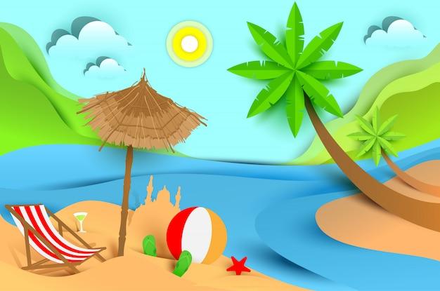 Férias de verão praia férias. ilustração plana de paisagem tropical