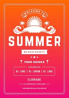 Férias de verão praia festa cartaz boate evento