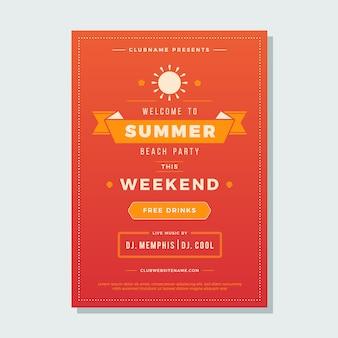 Férias de verão praia festa flyer tipografia boate evento