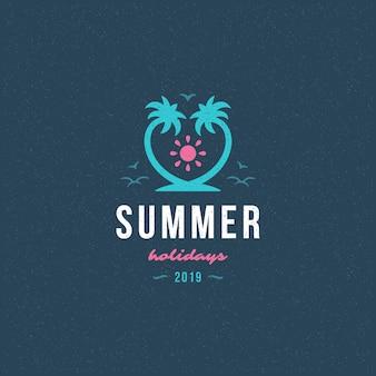 Férias de verão rótulo ou emblema tipografia slogan design
