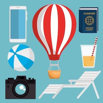 Férias de verão set ícones vector design ilustração