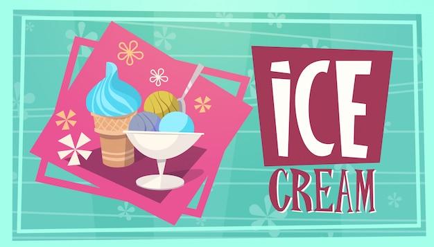 Férias de verão sorvete viagens de mar férias de lazer banner retrô