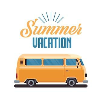 Férias de verão surf ônibus retro surf vintage