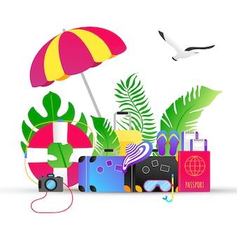 Férias de verão tropical férias viagens gradiente estilo plano design composição