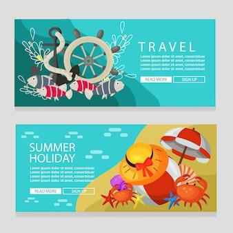 Férias de verão viajar tema bandeira ilustração em vetor tema marinho
