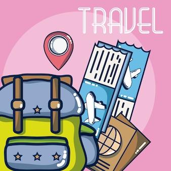 Férias e desenhos de elementos de viagem