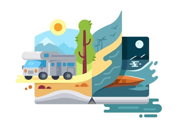 Férias e férias na natureza. trailer de viagem, descanso ao ar livre. ilustração vetorial